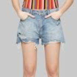 Highwaisted Distressed Denim Shorts